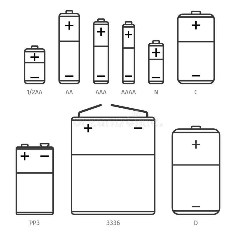 F?r formatvektor f?r alkaliskt batteri olik upps?ttning f?r symboler stock illustrationer