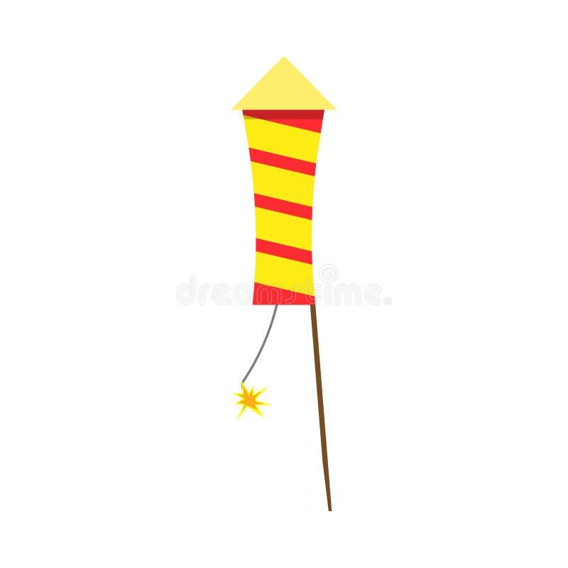 F?r garneringgnista f?r fyrverkerier ljus vektor G?va f?r r?d brand f?r pyroteknikfirecrackerinbjudan att fira royaltyfri illustrationer