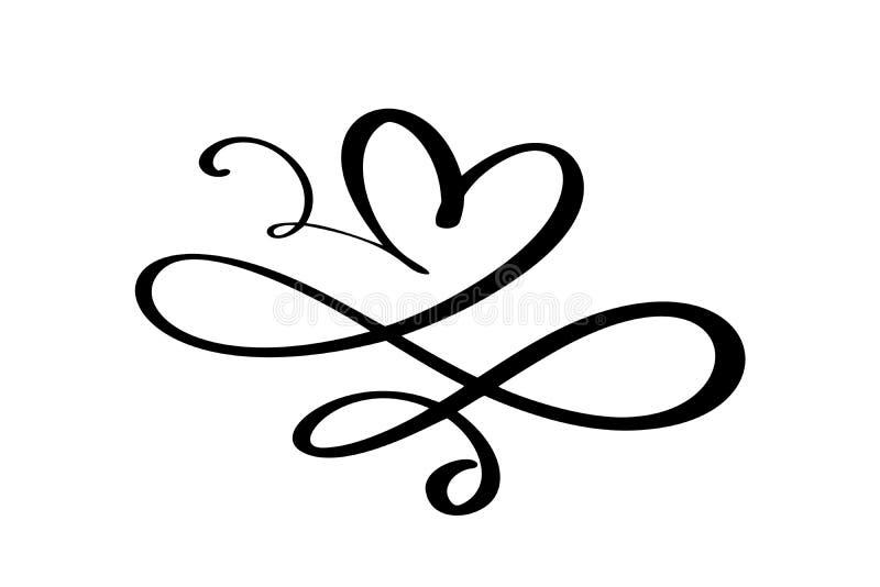 F?r hj?rtaf?r?lskelse f?r hand utdraget tecken Romantisk kalligrafivektor av valentindagen Concepn symbolssymbol f?r t-skjortan,  vektor illustrationer