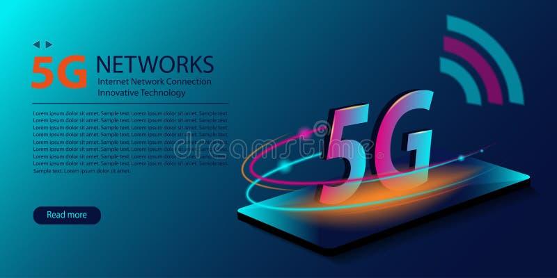 f?r internetwifi f?r n?tverk 5G ny tr?dl?s anslutning Innovativ utveckling av den globala bredbandet f?r snabb internet teknologi vektor illustrationer