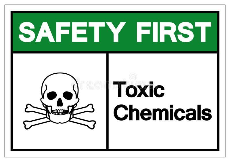 F?r kemikaliesymbol f?r s?kerhet f?rsta giftliga tecken, vektorillustration, isolat p? den vita bakgrundsetiketten EPS10 royaltyfri illustrationer