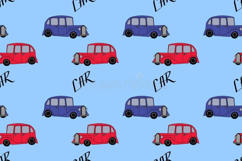 F?r klottertecknad film f?r hand s?ml?s modell f?r utdragna bilar Tapeten eller textilen för behandla som ett barn pojken Transpo stock illustrationer