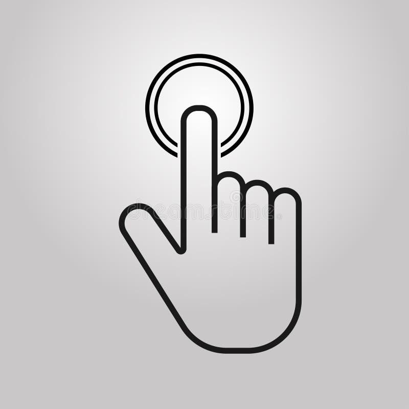 f?r knappknappar f?r bakgrund svart push f?r tangentbord Handsymbol p? gr? bakgrund Mark?r av datormusen ocks? vektor f?r coreldr vektor illustrationer