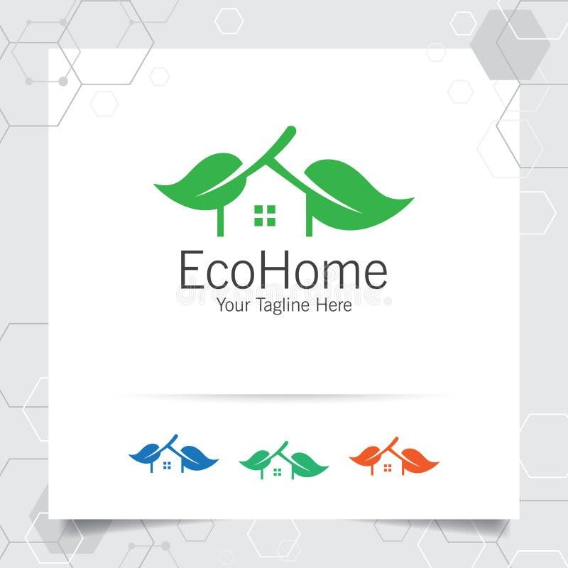 F?r logodesignen f?r det gr?na huset vektorn med begrepp av hem- och bladsymbolsillustrationen f?r fastigheten, egenskapen, uppeh stock illustrationer