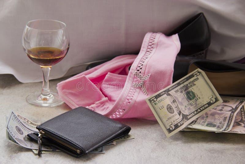 F?r?lskelse f?r pengar ?r prostitution royaltyfri foto