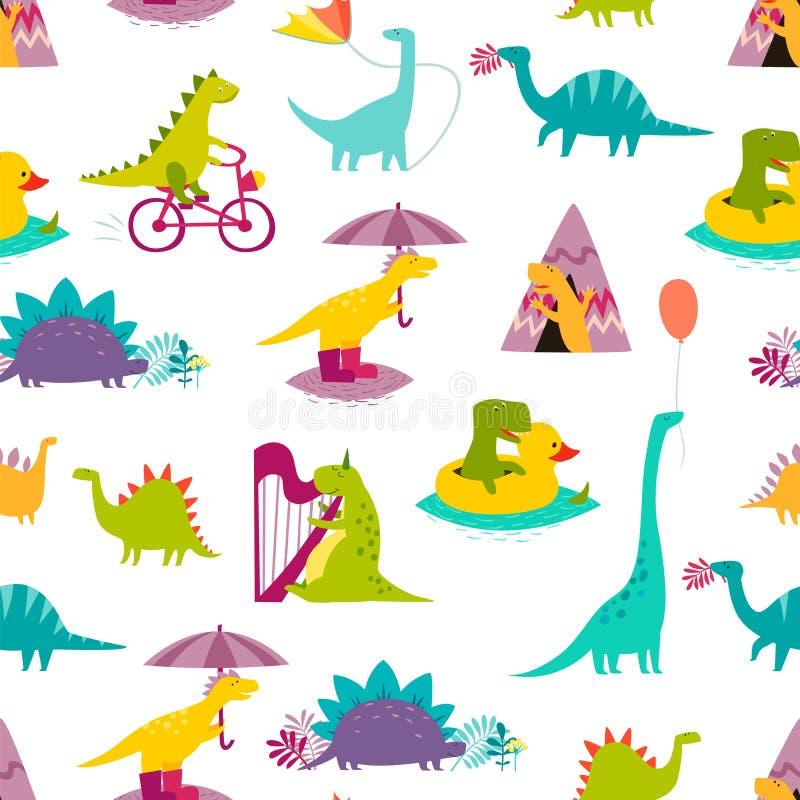F?r modellvektor f?r dinosaurie s?ml?s illustration Gullig T-rex tecknad filmstil stock illustrationer