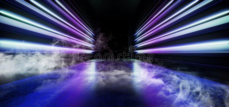 F?r nattneon f?r r?k reflexion f?r golv f?r Grunge f?r framtida f?r show vibrerande lilor f?r gl?d tom bl? modern futuristisk und vektor illustrationer