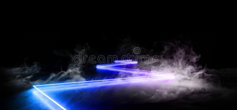 F?r nattneon f?r r?k reflexion f?r golv f?r Grunge f?r framtida f?r show vibrerande lilor f?r gl?d tom bl? modern futuristisk und stock illustrationer