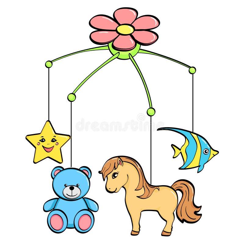 f?r objektbana f?r bakgrund clipping isolerad white En musikalisk leksak ?ver en vagga f?r ett barn ?mnena ?r h?sten, blomman, st stock illustrationer