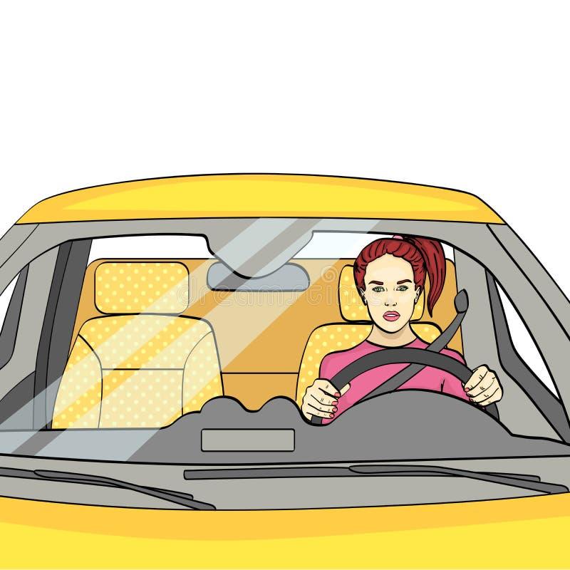 f?r objektbana f?r bakgrund clipping isolerad white Kvinnan p? hjulet, bilen raster royaltyfri illustrationer