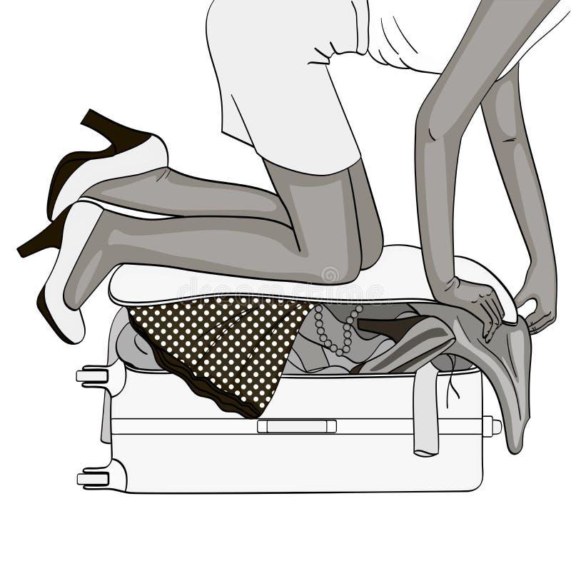 f?r objektbana f?r bakgrund clipping isolerad white skuggor av gr? f?rger Tema lopp och kvinnligsammankomst Saker som inte passar royaltyfri illustrationer