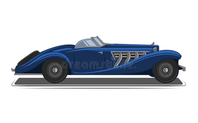 F?r pre-krig f?r gammal tappning retro illustration f?r vektor roadster Exklusiv och lyxig bil royaltyfri illustrationer