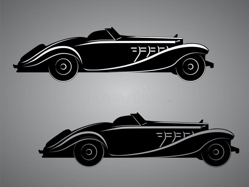 F?r pre-krig f?r gammal tappning retro illustration f?r vektor roadster Exklusiv och lyxig bilsymbol royaltyfri illustrationer