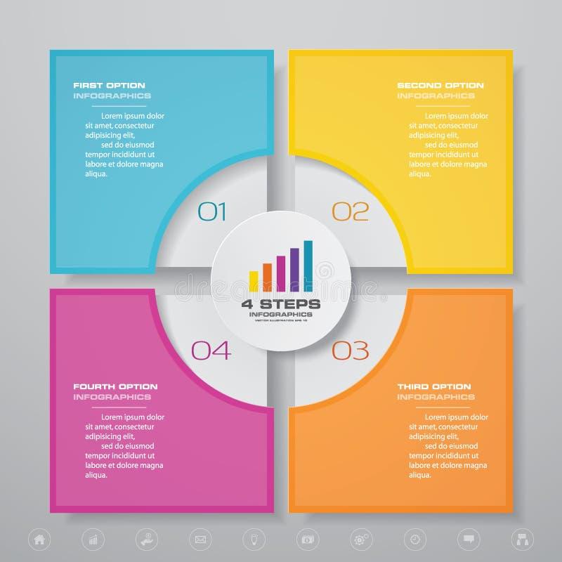 f?r processdiagram f?r 4 moment simple&editable best?ndsdel f?r infographics royaltyfri illustrationer