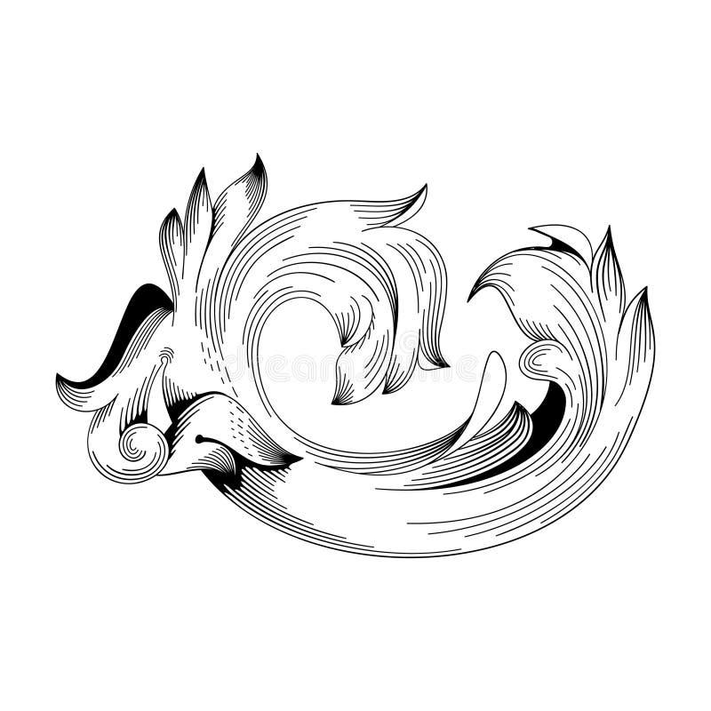 F?r ramsnirkel f?r tappning som barock prydnad inristar virveln f?r l?vverk f?r acanthus f?r stil f?r blom- retro modell f?r gr?n royaltyfri illustrationer