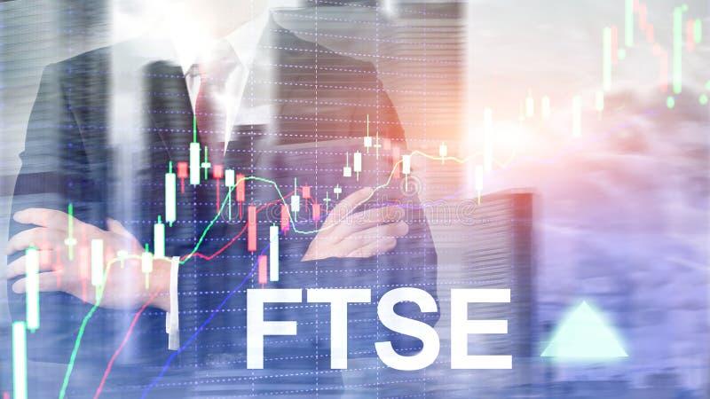 F?r F?renade kungariket UK England f?r FTSE 100 Financial Times b?rsindex begrepp f?r handel investering med diagrammet och grafe royaltyfri illustrationer