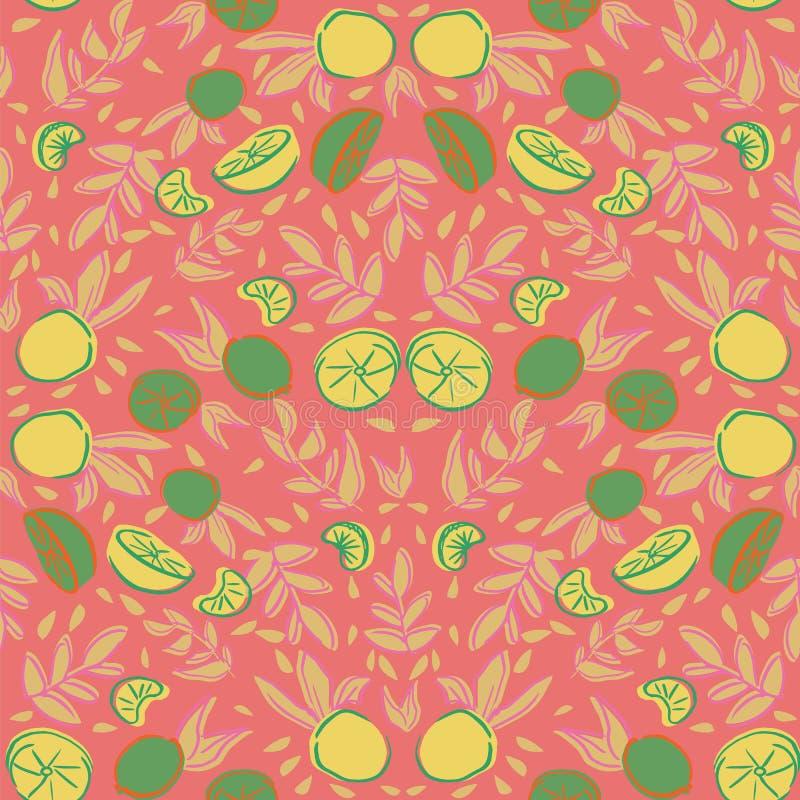 F?r repetitionmodell f?r citrus citron orange s?ml?s design royaltyfri illustrationer