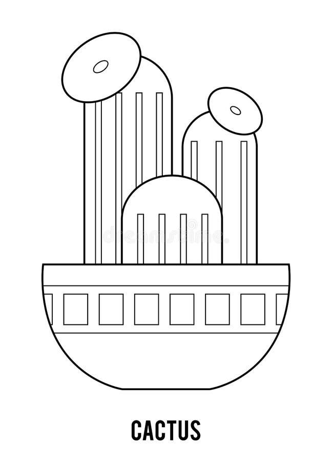 f?r f?rgl?ggningdiagram f?r bok f?rgrik illustration Tecknad filmsamling av Houseplants, kaktus arkivbild