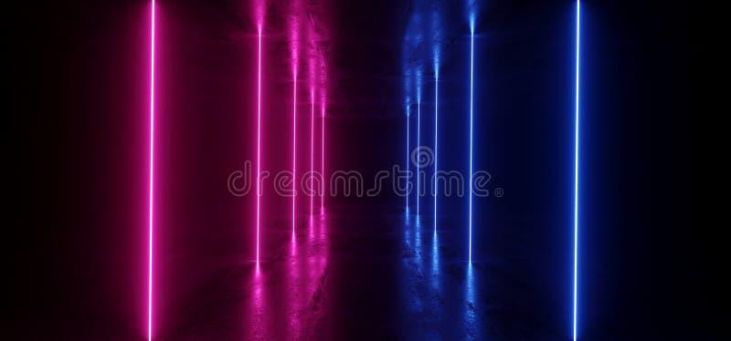 F?r Sci Fi f?r neon gl?dande bl?tt f?r lilor f?r betong f?r Grunge f?r futuristisk bakgrund fr?mmande f?r rymdskepp vibrerande fl vektor illustrationer