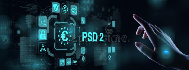 F?r servicedirektiv f?r betalning PSD2 protokoll f?r s?kerhet f?r familjef?rs?rjare f?r service f?r betalning f?r bankr?relsen ?p vektor illustrationer