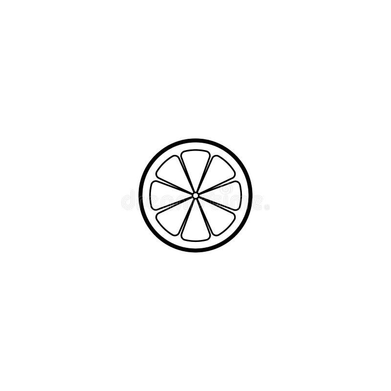 F?r skivakontur f?r citron eller f?r orange limefrukt citrus illustration f?r symbol f?r vektor p? vit bakgrund Ny sur vektorcitr stock illustrationer