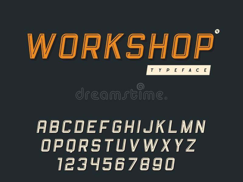 F?r stora bokstavsalfabet f?r vektor latinska bokst?ver och nummer Retro stilsort 3d stock illustrationer
