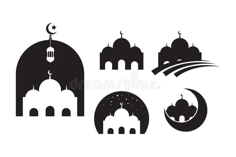 F?r symbolsvektor f?r mosk? muslimsk mall f?r design f?r illustration vektor illustrationer