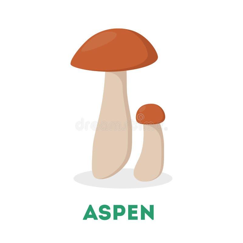 f?r t?t soligt ?vre dagchampinjon f?r asp Mat från skogen, ny svamp stock illustrationer
