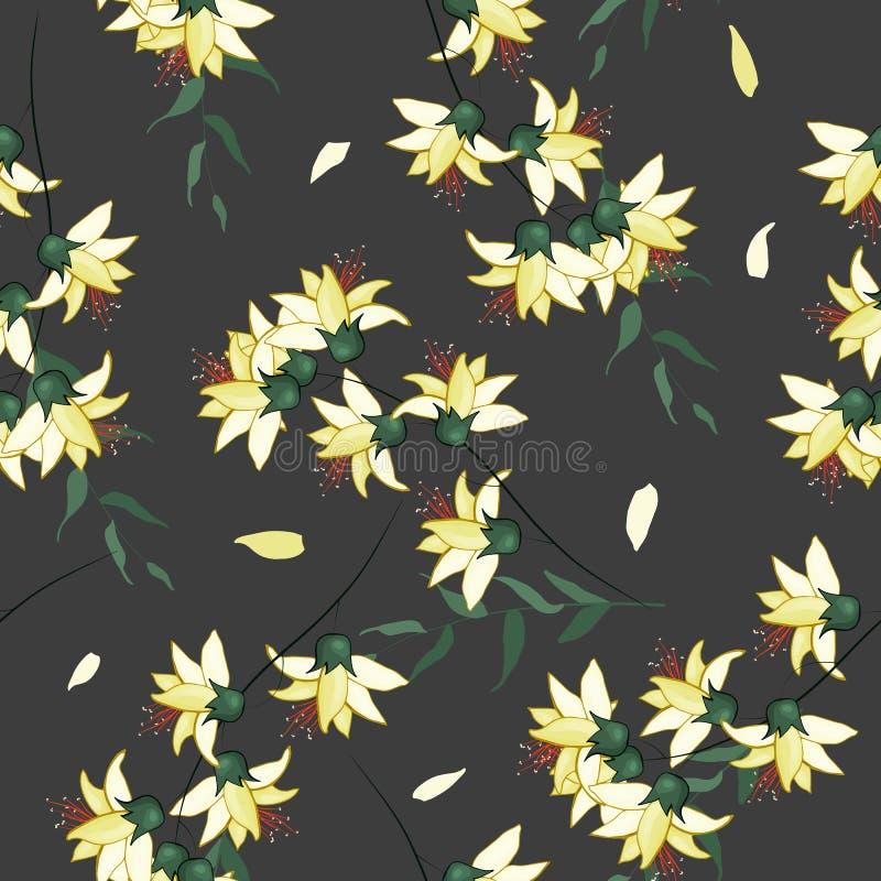 F?r tapetvektor f?r skissad teckning botanisk illustration f?r mode, tyg Halsduktryck Blom- s?ml?s modell f?r fantasi med vektor illustrationer