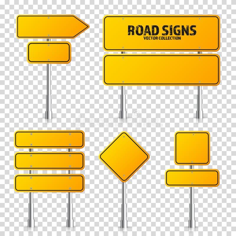 F?r trafiktecken f?r v?g gul upps?ttning Tomt br?de med st?llet f?r text Modell Isolerat informationstecken riktning vektor stock illustrationer