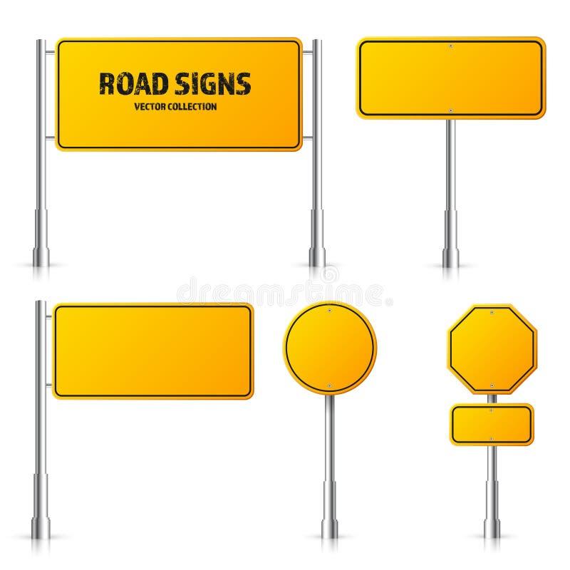 F?r trafiktecken f?r v?g gul upps?ttning Tomt br?de med st?llet f?r text Modell Isolerat informationstecken riktning vektor royaltyfri illustrationer