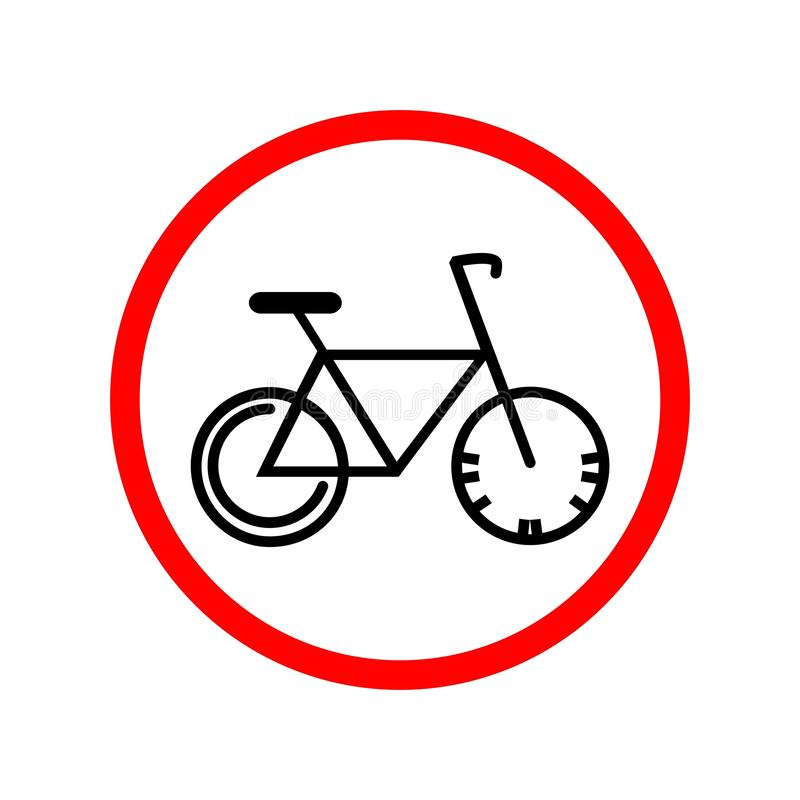 f?r v?gm?rketon f?r vinkel bl? sikt wide Cykel i den röda cirkeln stock illustrationer