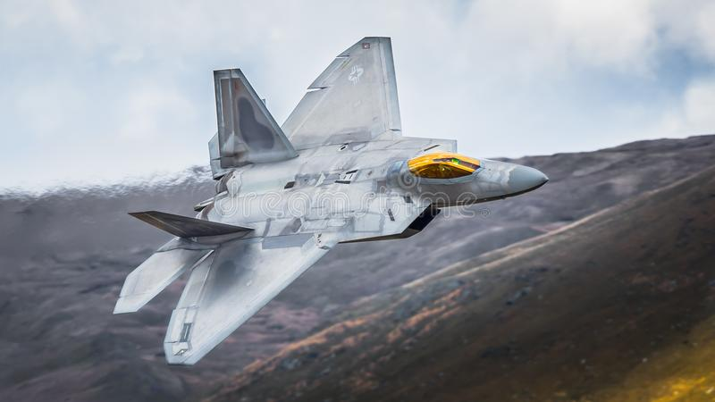 F22 Raptor fighter jet aircraft. On a low level training mission over the U.K stock photo