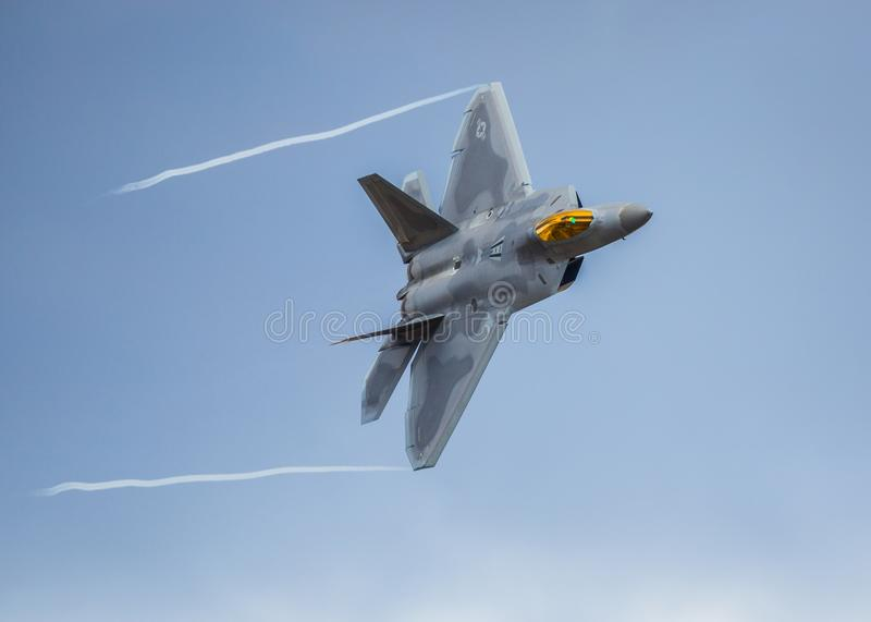 F-22 Raptor fighter jet. On a low level training mission over the U.K royalty free stock photography
