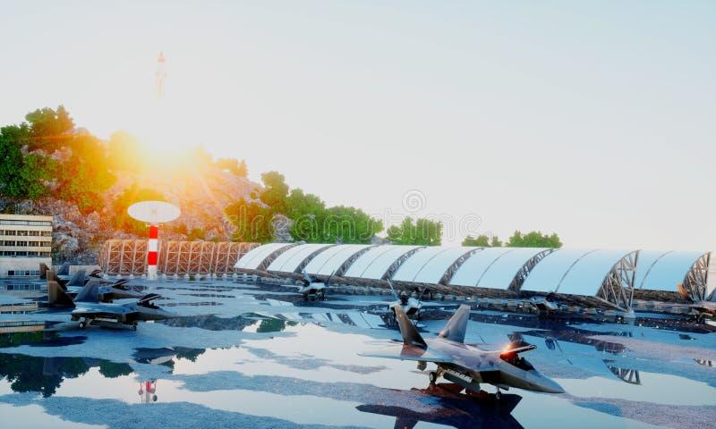 F 22 raptor, military fighter jet. military base. sunset. 3d rendering. F 22 raptor, military fighter jet. military base. sunset 3d rendering stock images
