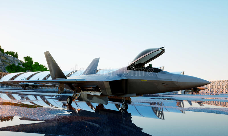 F 22 raptor, military fighter jet. military base. sunset. 3d rendering. F 22 raptor, military fighter jet. military base. sunset 3d rendering royalty free stock photo