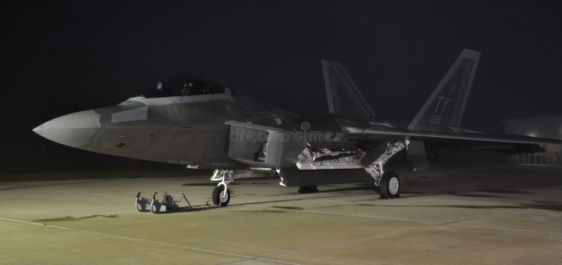 F-22 Raptor at Night stock photo