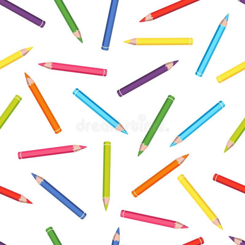 F?rben Sie nahtloses Muster der Bleistifte Vektorillustration des Schulbedarfs vektor abbildung