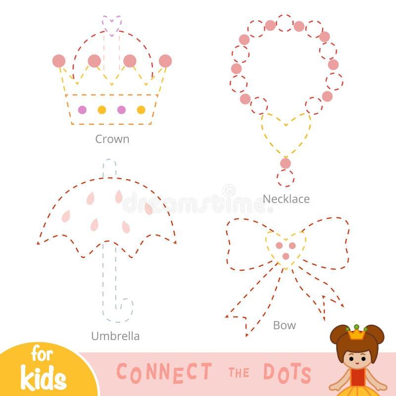 F?rbind prickarna, utbildningsleken f?r barn Prinsessa Accessory Set vektor illustrationer