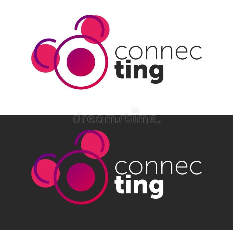 F?rbindande logo cirkelvektorobjekt Linje logo färg förbinder stock illustrationer