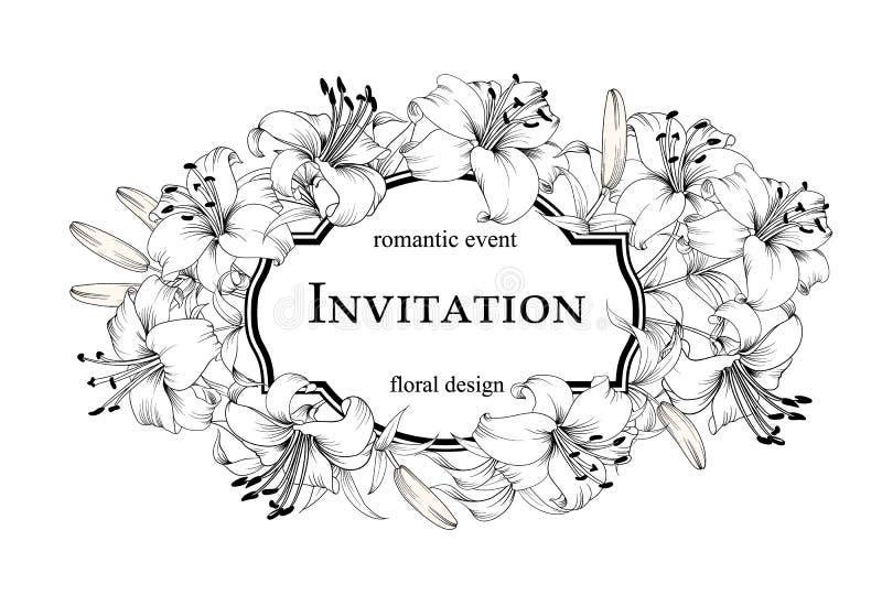 F?rbindelseinbjudankortet Blom- design f royaltyfri illustrationer