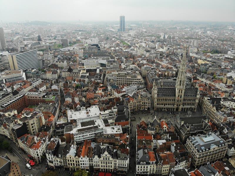 F?rbluffa sikt fr?n ?ver Huvudstaden av Belgien Stora Bryssel Mycket historiskt och touristic ställe M?ste se Sikt fr?n surret royaltyfria bilder