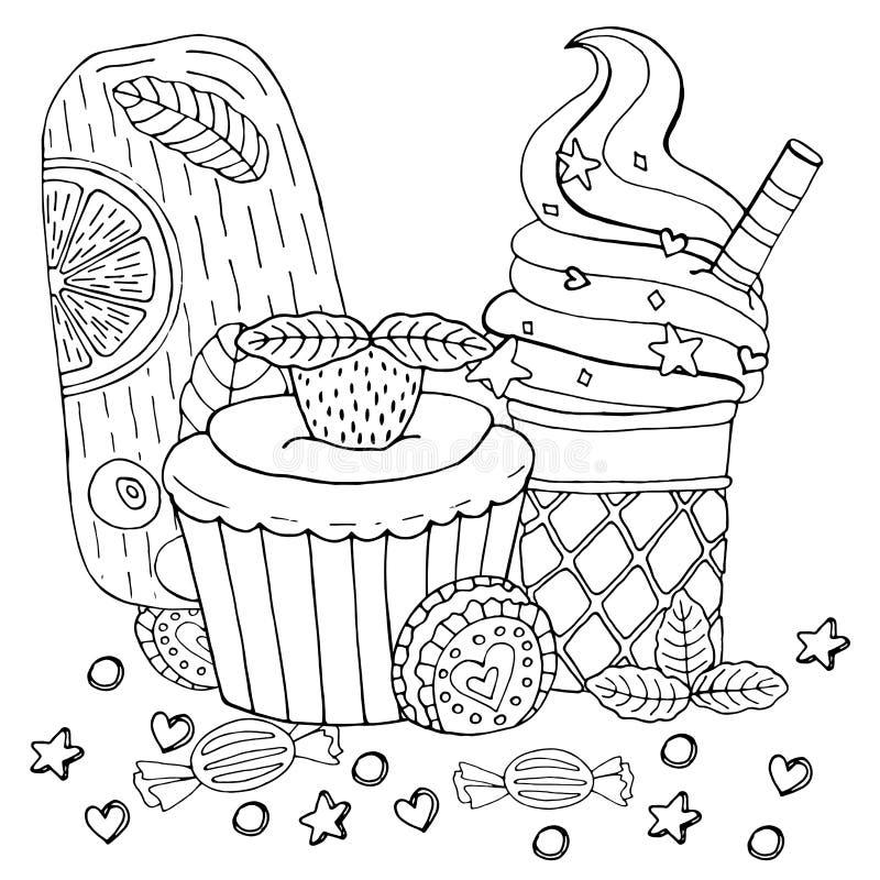F?rbungsseite mit Kuchen, kleinem Kuchen, S??igkeit, Eiscreme und anderem Nachtisch lizenzfreie abbildung
