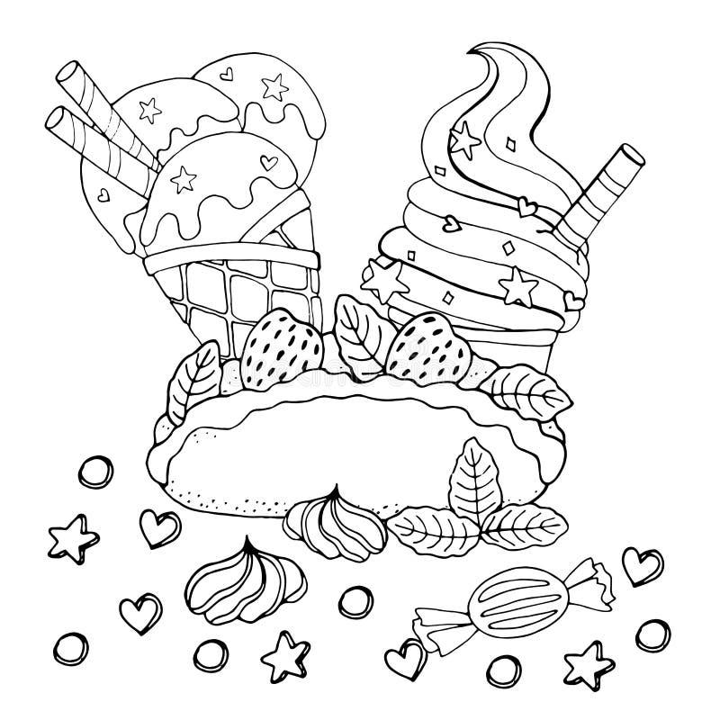 F?rbungsseite mit Kuchen, kleinem Kuchen, S??igkeit, Eiscreme und anderem Nachtisch stock abbildung