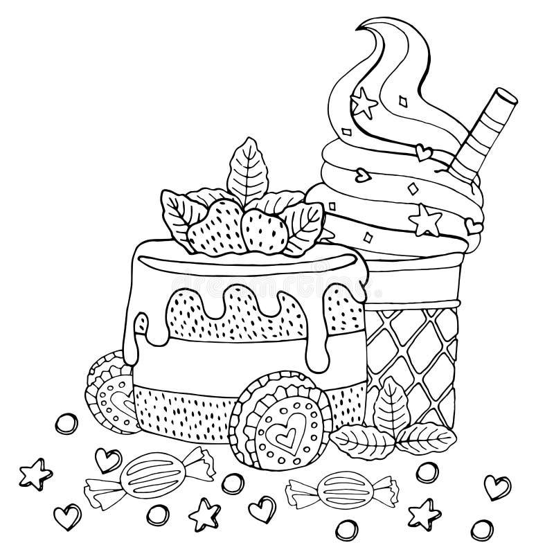 F?rbungsseite mit Kuchen, kleinem Kuchen, S??igkeit, Eiscreme und anderem Nachtisch vektor abbildung