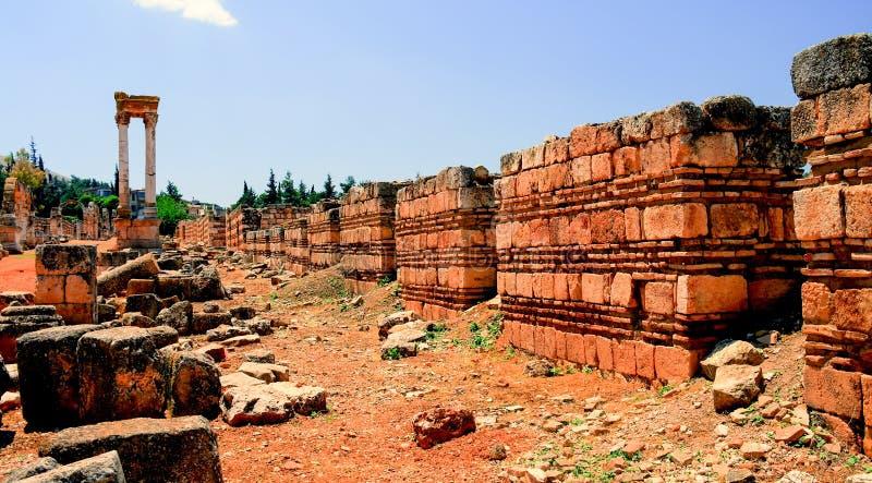 F?rd?rvar av den forntida staden Anjar i Bekaa Valley, Libanon arkivbild