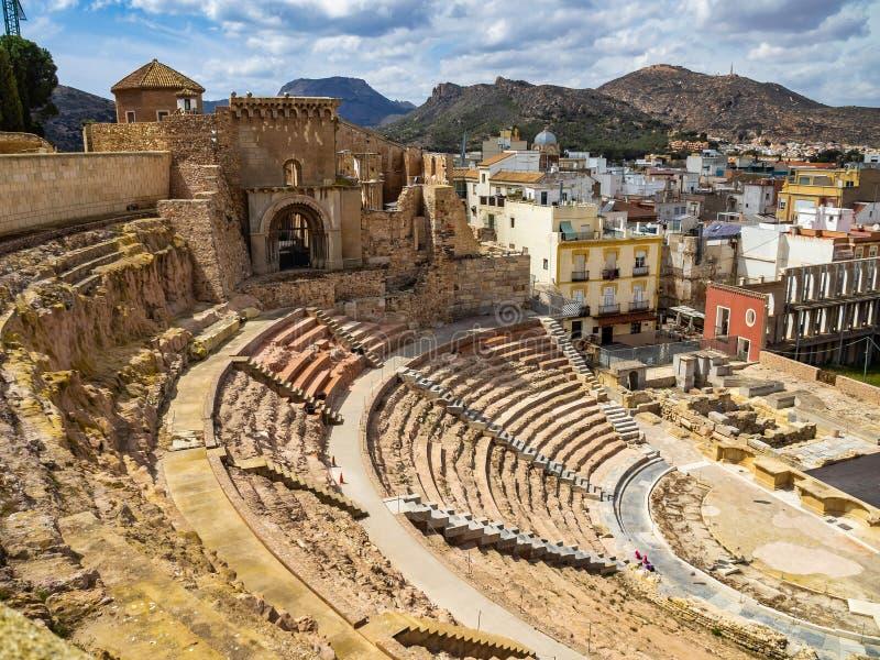 F?rd?rvar av den roman amfiteatern i Cartagena, Spanien royaltyfri foto