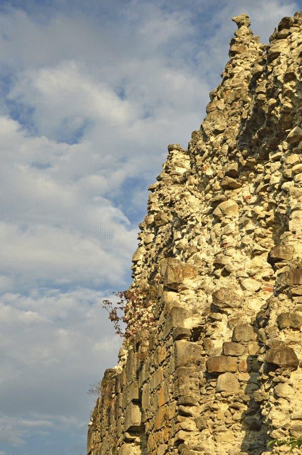 F?rd?rvar av den Templar slotten i staden av staden av den mellersta Zakarpattia regionen, Ukraina royaltyfri fotografi