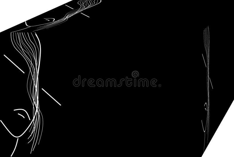 F?rdjupning ensam kvinna Bakgrund illustration 3d stock illustrationer