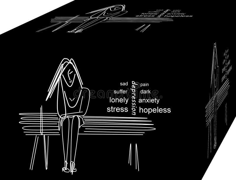 F?rdjupning ensam kvinna Bakgrund illustration 3d royaltyfri illustrationer